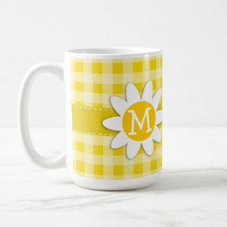 Cute Daisy on Golden Yellow Gingham Basic White Mug