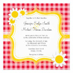 Cute Daisy on Retro Scarlet Red Gingham Pattern