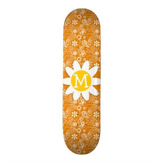 Cute Daisy with Dark Orange Paisley Custom Skate Board
