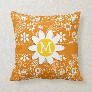 Cute Daisy with Dark Orange Paisley Throw Cushions