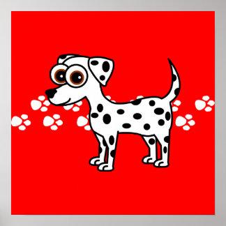 Cute Dalmatian Cartoon Pawprint Poster