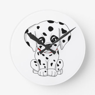 Cute Dalmatian puppy Round Clock