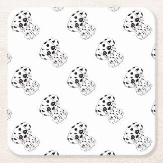 Cute Dalmatian puppy Square Paper Coaster