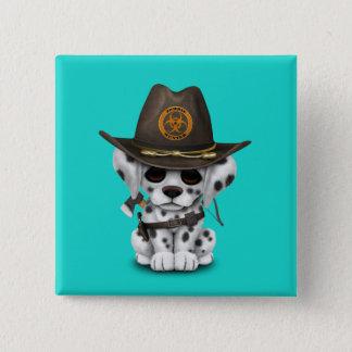 Cute Dalmatian Puppy Zombie Hunter 15 Cm Square Badge