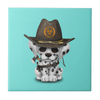 Cute Dalmatian Puppy Zombie Hunter Ceramic Tile