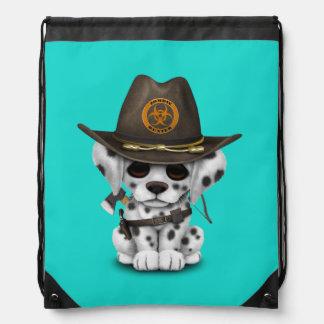 Cute Dalmatian Puppy Zombie Hunter Drawstring Bag