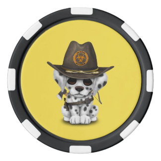 Cute Dalmatian Puppy Zombie Hunter Poker Chips