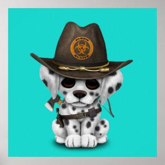 Cute Dalmatian Puppy Zombie Hunter Poster