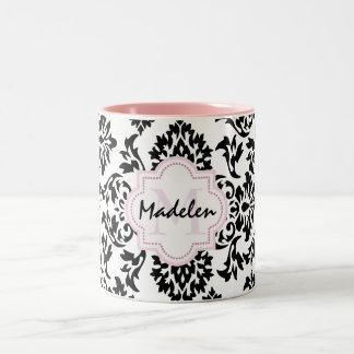 cute damask monogramed Two-Tone coffee mug