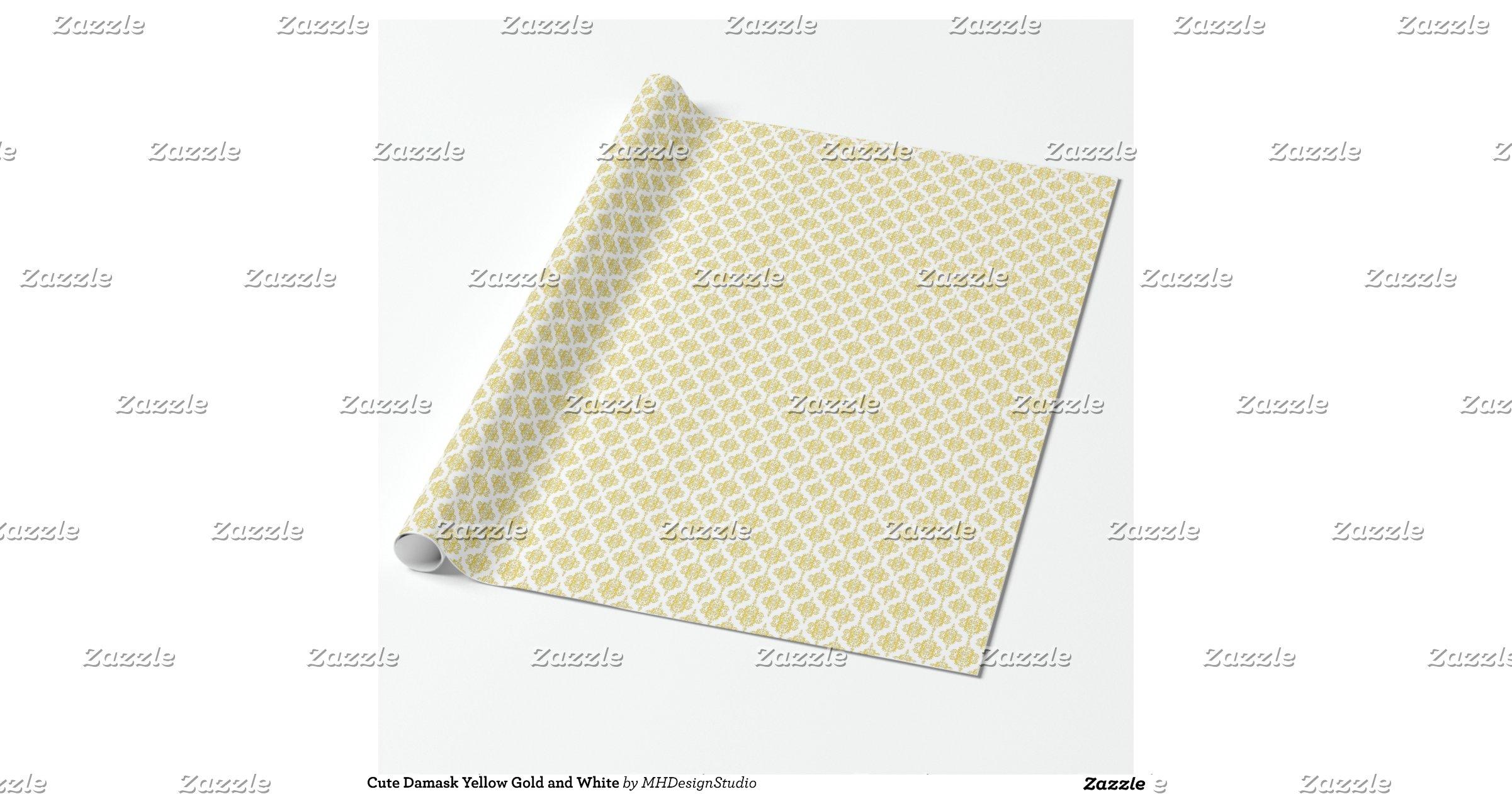 Gold Damask Craft Paper