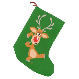 Cute Dancing Cartoon Reindeer Christmas Stocking Small Christmas Stocking
