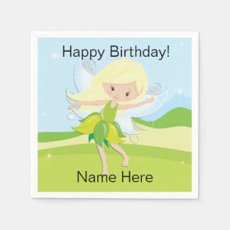 Cute Dancing Fairy Nymph Personalized Paper Napkin