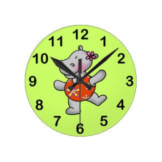 Cute dancing hippo round clock