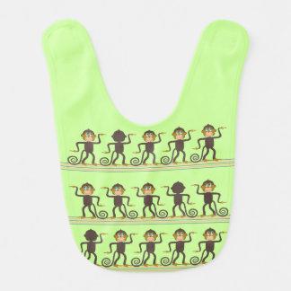 Cute dancing monkeys pattern green brown bib