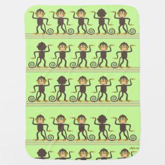 Cute dancing monkeys pattern green brown baby blanket