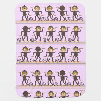 Cute dancing monkeys pattern pink girl's room receiving blanket
