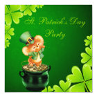 Cute Dancing Mouse St. Patrick's Day Party Card