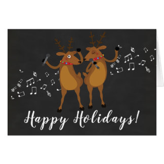 Cute Dancing Reindeer Happy Holidays Card