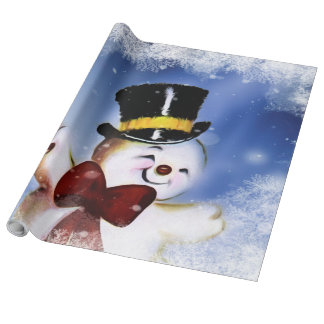 Cute dancing Snowman Wrapping Paper