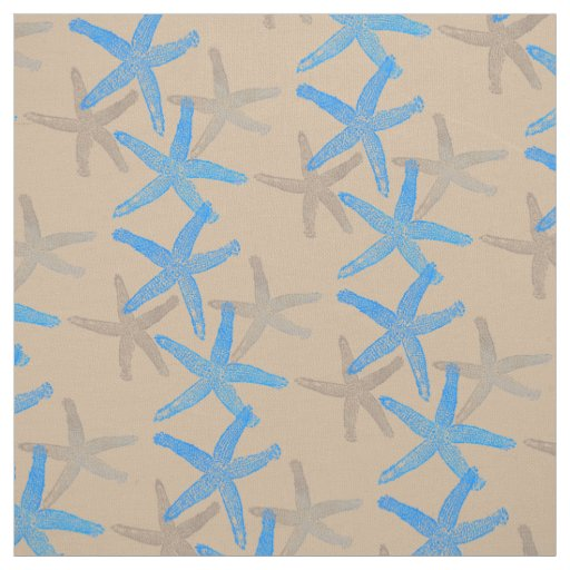 Cute Dancing starfish star fish blue taupe sand Fabric