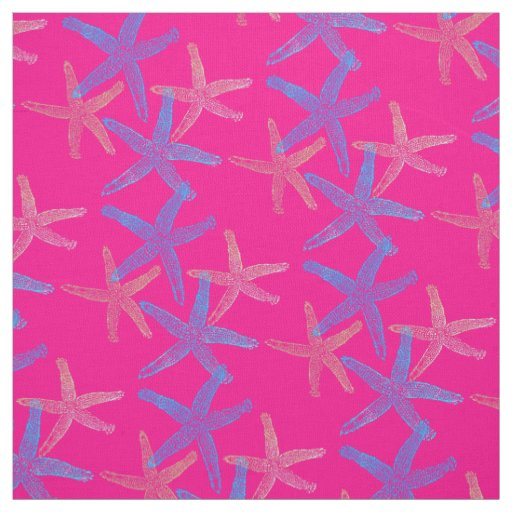 Cute Dancing starfish star fish pink purple blue Fabric