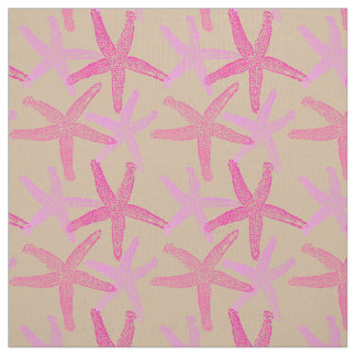 Cute Dancing starfish star fish pink purple  taupe Fabric