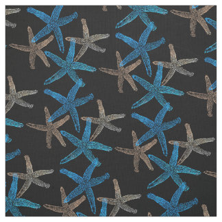 Cute Dancing starfish star fish taupe blue white Fabric