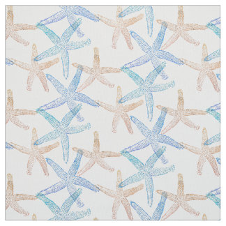 Cute Dancing starfish star fish white blue sand Fabric