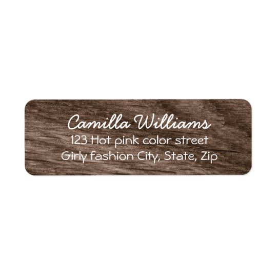 Cute, dark brown rustic wood grain return address return address label