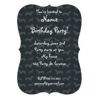 Cute dark gray dachshund pattern cards