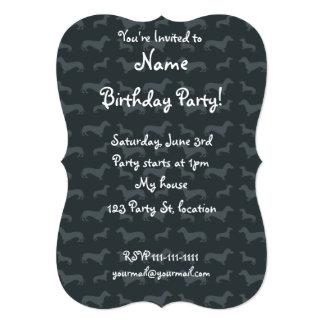 "Cute dark gray dachshund pattern 5"" x 7"" invitation card"