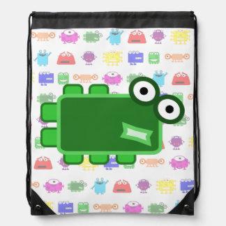 Cute Dark Green Cartoon Monster Backpack