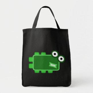 Cute Dark Green Cartoon Monster Grocery Tote Bag