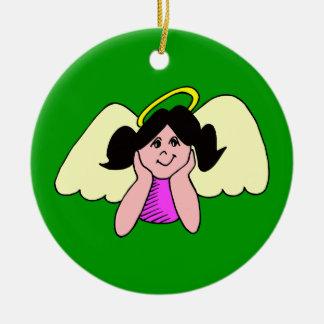 Cute Dark Haired Girl Christmas Angel Christmas Tree Ornament