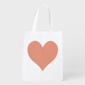Cute Dark Salmon Heart Shape Reusable Grocery Bag