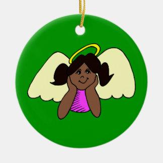 Cute Dark Skinned Girl Christmas Angel Ornaments