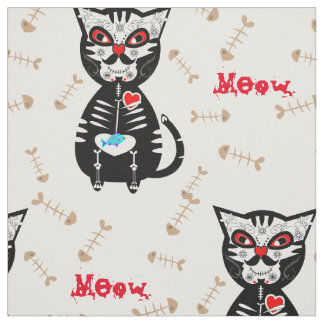 Cute Day of The Dead Sugar Skull Cat Meow Print Fabric