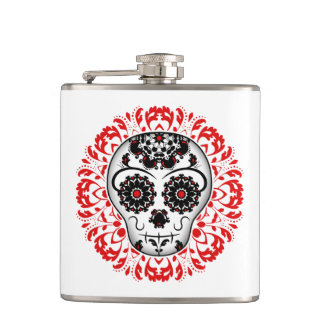 Cute Day of the Dead sugar skull Hip Flask