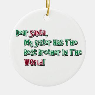 Cute Dear Santa Brother Saying Round Ceramic Decoration