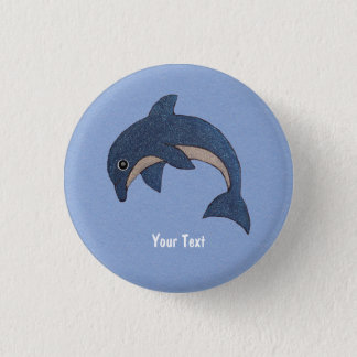 Cute Deep Blue Sparking Jumping Dolphin 3 Cm Round Badge