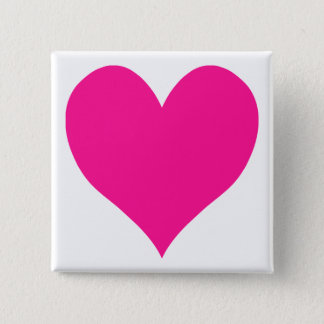 Cute Deep Pink Heart 15 Cm Square Badge