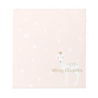 Cute Deer   Blush Pink   Christmas Notepad
