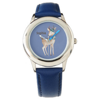 Cute Deer / Fawn on Blue Personalized Watch