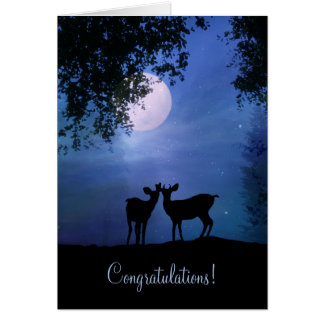 Cute Deer in the Moonlight Wedding Congratulations Card