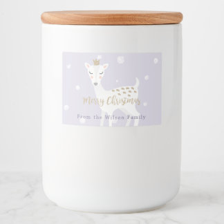 Cute Deer | Lilac | Personalized Christmas Food Label