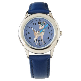 Cute Deer on Blue Personalized Watch