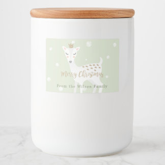 Cute Deer | Sage Green | Personalized Christmas Food Label