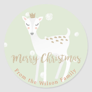 Cute Deer  | Sage Personalized Christmas Sticker