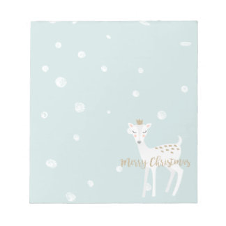 Cute Deer   Soft Blue   Christmas Notepad