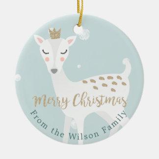 Cute Deer   Soft Blue   Personalized Christmas Ceramic Ornament